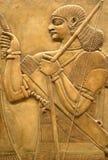 Affresco Assyrian sulla parete Fotografia Stock