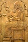 Affresco Assyrian sulla parete Immagine Stock