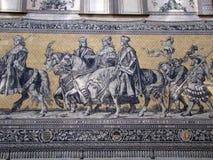 Affresco con i monarchi medioevali Immagine Stock