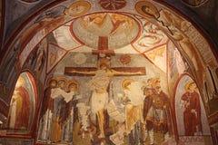 Affresco cristiano nella chiesa antica della caverna della metropolitana in Turchia Fotografia Stock Libera da Diritti