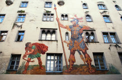 Affresco del Goliath e di David, Regensburg, Germania Fotografie Stock Libere da Diritti