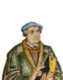 Affresco del riformatore tedesco Martin Luther, isolato su bianco Immagine Stock Libera da Diritti
