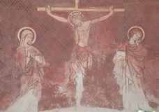 Affresco di Gesù sull'incrocio Fotografia Stock
