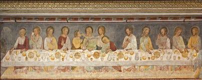 Affresco medievale di Giottesque - di Bergamo dei Di Santa Maria Maggiore della basilica di ultima cena N Fotografie Stock Libere da Diritti