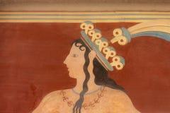 Affresco minoan antico da Cnosso, Creta Fotografia Stock Libera da Diritti