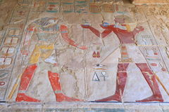 Affresco nel tempio di Hatshepsut Immagini Stock