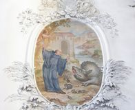 Affresco nella basilica della st Mang in Fussen, Baviera, Germania immagini stock