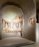 Affresco religioso nel corridoio medievale di romanico Fotografia Stock Libera da Diritti