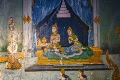 Affresco tailandese che descrive una scena a partire da vita di Buddha immagine stock libera da diritti