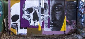 Affronta i graffiti sulla parete fotografia stock libera da diritti