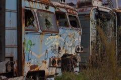 Affronta i treni abbandonati Fotografie Stock Libere da Diritti