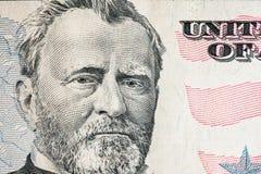 Affronti sui dollari di macro della fattura degli Stati Uniti cinquanta o 50, primo piano dei fondi degli Stati Uniti Fotografie Stock Libere da Diritti