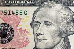 Affronti sui dollari di macro della fattura degli Stati Uniti dieci o 10, Stati Uniti fotografia stock libera da diritti