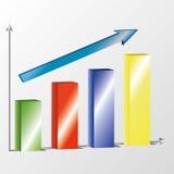 Affärsdiagram 3d med pilen på ljus - grå bakgrund Royaltyfri Fotografi