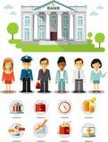 Affärsfinansbegrepp med folk, symboler och bankbyggnad Arkivfoto