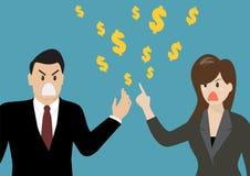 Affärsfolk som har en gräla om pengar Arkivbild