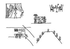 affärsfolket skissar Arkivbilder