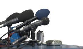 affärskonferensmikrofoner Arkivfoto