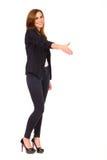 Affärskvinna med handen ut som ska skakas. Arkivbilder