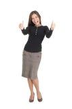 affärskvinna som ger upp lyckliga isolerade tum Royaltyfri Fotografi