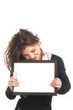 affärskvinnaclipboard Arkivbilder