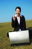 affärskvinnan får idé Arkivfoton