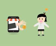 Affärskvinnan med idé får pengar i e-kommers marknad Arkivbilder