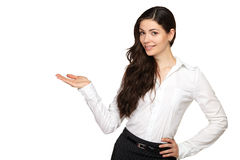 Affärskvinnan pekar med hans hand och le Arkivbild