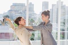 Affärskvinnor som har ett massivt slagsmål Arkivfoton