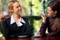 affärskvinnor som pratar två Fotografering för Bildbyråer