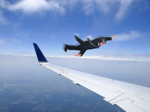 Affärsman Fly Business Class, lopp Jet Plane Arkivbilder