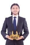 Affärsman med kronan Fotografering för Bildbyråer