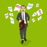 Affärsman med portföljspring i väg från skatt- och räkninglegitimationshandlingar Royaltyfri Bild