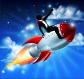 Affärsman på Rocket Ship Fotografering för Bildbyråer