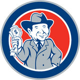 Affärsman Rich Man Money Cartoon Arkivbilder