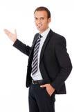 Affärsman som ger presentation Arkivfoto