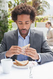Affärsman som har smörgåsen för lunch Arkivfoto