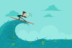 Affärsman som surfar och fångar dollaren Arkivbild