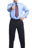 affärsman som visar upp den lyckade tumen Arkivbild