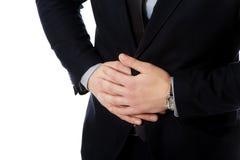 Affärsmanlidande från magen smärtar Royaltyfri Fotografi