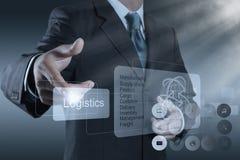 Affärsmannen visar logistikdiagrammet som begrepp Arkivbild