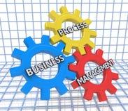 Affärsprocessledning på mekanismen av metallkugghjul 3d Royaltyfri Foto