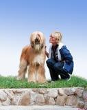 Afgano-perro y mujer Foto de archivo libre de regalías