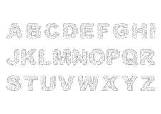 Afgebroken en Gebroken alfabet Stock Afbeeldingen