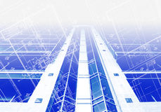 Afgedrukte Blauwdruk Stock Afbeelding