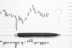 Afgedrukte forex grafiek met pen - onzekerheid Stock Foto