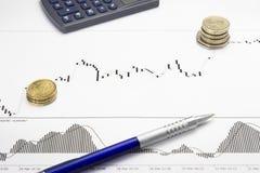 Afgedrukte forex het groeien grafiek met geldwinst Royalty-vrije Stock Afbeelding