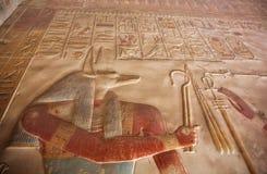 Afgeschilderde Anubis - oude Egyptische god met jakhalshoofd stock fotografie