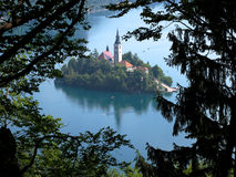 Afgetapt Eiland, Afgetapt Meer, Slovenië Royalty-vrije Stock Foto