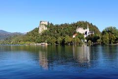 Afgetapt Kasteel en St Marys kerk Meer Afgetapt Slovenië Stock Afbeeldingen